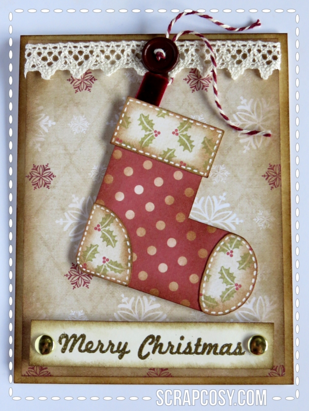 20150908 - Christmas cards 2015 collection paper - stocking - front - scrapcosy